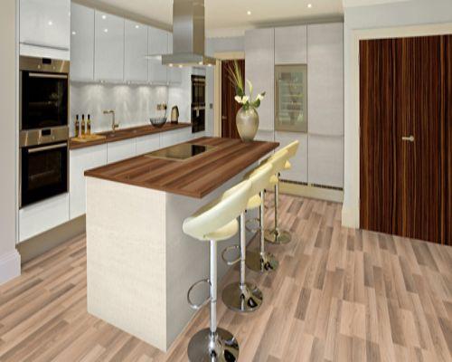Sàn gỗ công nghiệp Thaixin lắp đặt ở phòng bếp