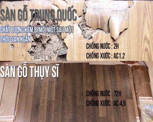 chịu nước của sàn gỗ Thụy Sĩ và sàn gỗ Trung Quốc