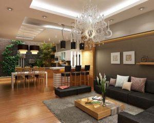 Sàn gỗ kết hợp với đồ nội thất phòng khách