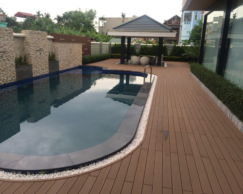 sàn gỗ bể bơi đẹp